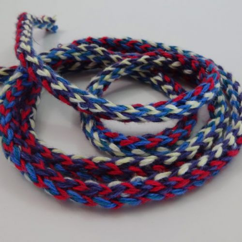 Tubular knit braid Blue, Cherry, Purple, Ecru 1.5cm wide